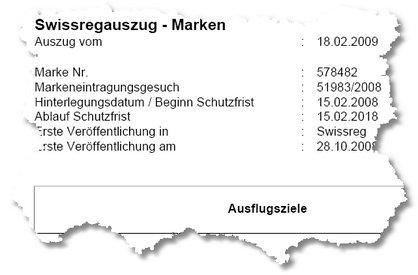 Ausflugsziele - Auszug aus Swissreg