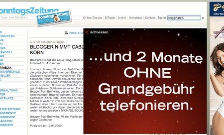 Beitrag in der SonntasZeitung: Cablecom-Werbung inklusive