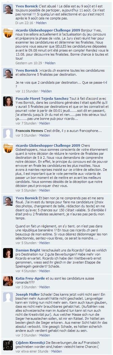 Facebook-Kommentare zur Aenderung der Teilnahmebedingungen durch ricardo.ch