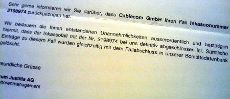 Cablecom - Abschlussbestätigung von Intrum Justitia - Cabletom