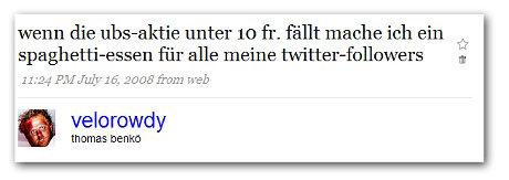 Twitter-Wette von Thomas Benkoe: UBS-Spaghetti