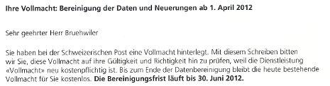 Schweizerische Post - Mitteilung Vollmacht wird kostenpflichtig