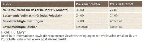 Schweizerische Post - Preisliste Vollmacht