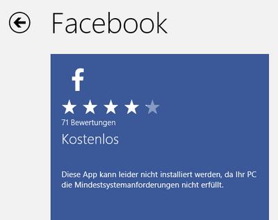 Surface: Facebook nicht verfügbar