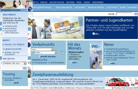 TCS Homepage Ansicht mit Firefox