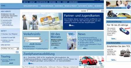 TCS Homepage Ansicht mit Internet Explorer