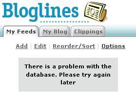 Bloglines Database Problem