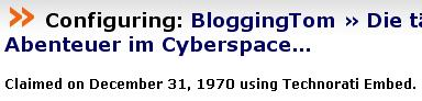 Technorati - BloggingTom, claimed on december 31, 1970