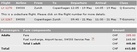 Swiss - Übersicht Buchung Zürich-Kopenhagen