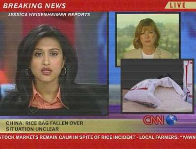 CNN: China - Rice Bag fallen over