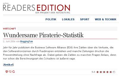 Artikel in der Readers Edition: Wundersame Piraterie-Statistik