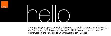 Orange - Der Onlineshop ist vom 10.08. bis 14.08 geschlossen