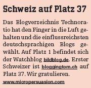 Schweiz auf Platz 37 - Printausgabe von Heute