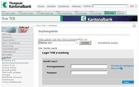 Thurgauer Kantonalbank - Fake Formular im Layout