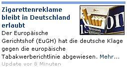 20 Minuten - Zigarrettenreklame bleibt in Deutschland erlaubt
