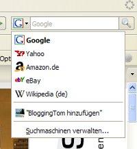 Browser-Suchfeld: BloggingTom hinzufügen