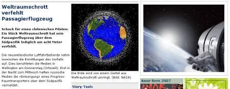 20Min - Screenshot - Weltraumschrott verfehlt Passagierflugzeug