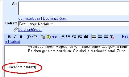 Gmail - Nachricht gekürzt