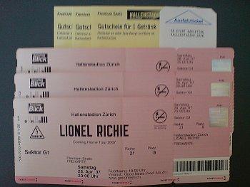 Tickets für das Lionel Richie-Konzert am 28.4.2007 im Hallenstadion Zürich