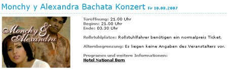 Screenshot Ticketbestellung Monchy y Alexandra