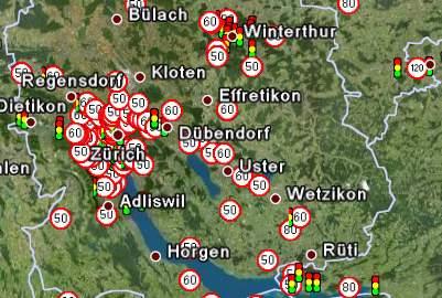 Geschwindigkeits-Radarinfo im Grossraum Zürich