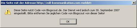 Blogscout-Code entfernt?