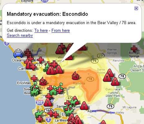 Google Maps mit Overlay der Waldbrände in Kalifornien