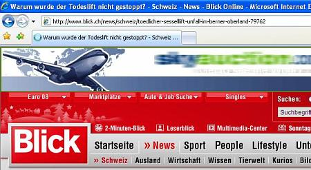 Screenshot blick.ch mit Malware-BannerAd