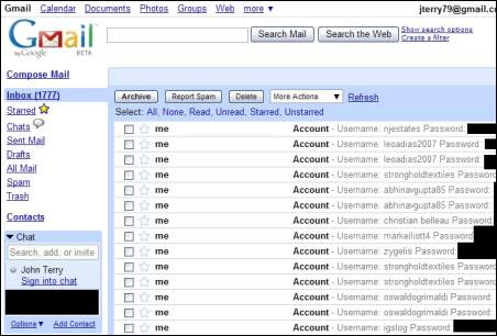 Screenshot Gmail: Username und Passwort via G-Archiver