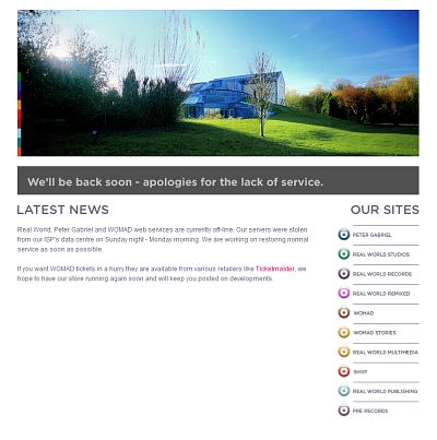 Peter Gabriel - Site offline