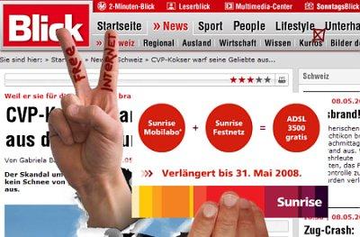 Nervende Werbung auf blick.ch