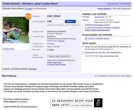ebay-Auktion: Stopp Frauenhandel