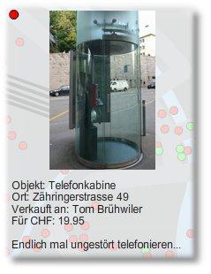 Verkauft: Telefonkabine an der Zähringerstrasse in Zürich