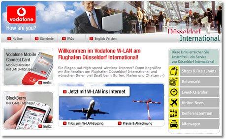 Welcome-Page WLAN Flughafen Düsseldorf